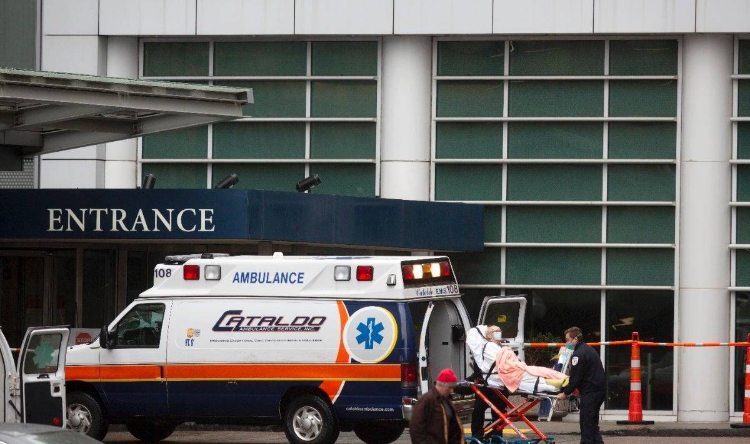 The photo shows a Cataldo ambulance in front of the hospital.