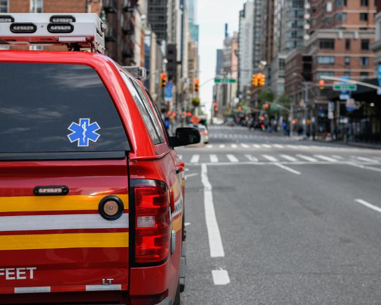 An FDNY unit on a New York City street.