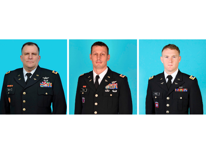 They are, from left: Chief Warrant Officer 5 Steven Skoda, age 54, from Rochester, NY; Chief Warrant Officer 4 Christian Koch, age 39, from Honeoye Falls, NY; and Chief Warrant Officer Two Daniel Prial, age 30, from Rochester, NY.