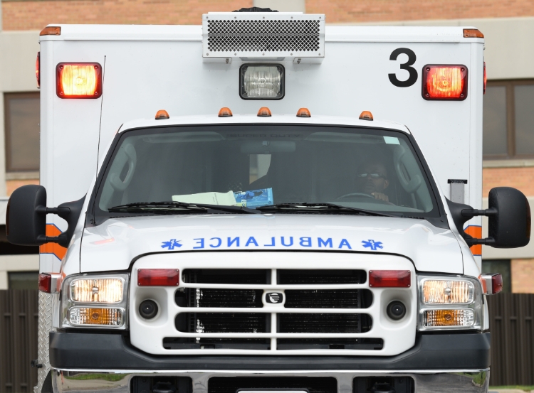 The photo shows an ambulance.