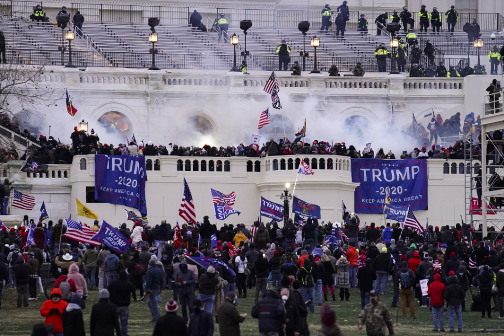 Violent protesters, loyal to President Donald Trump, storm the Capitol, Wednesday, Jan. 6, 2021, in Washington.