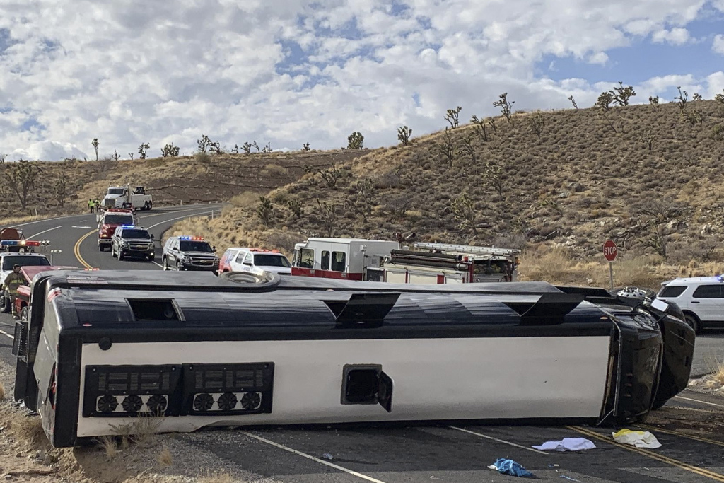 This photo provided by the Mohave County Sheriff's Office shows a Las Vegas-based tour that rolled over in northwestern Arizona on Friday, Jan. 22, 2021.