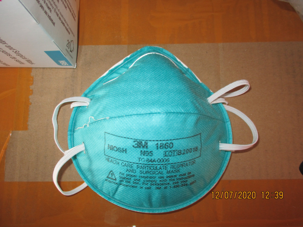 This December 2020 image provided by U.S. Immigration and Customs Enforcement (ICE) shows a counterfeit N95 surgical mask that was seized by ICE and U.S. Customs and Border Protection.