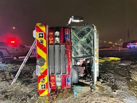 A San Antonio fire truck rolled over in a crash earlier this week after snow blanketed much of the region.