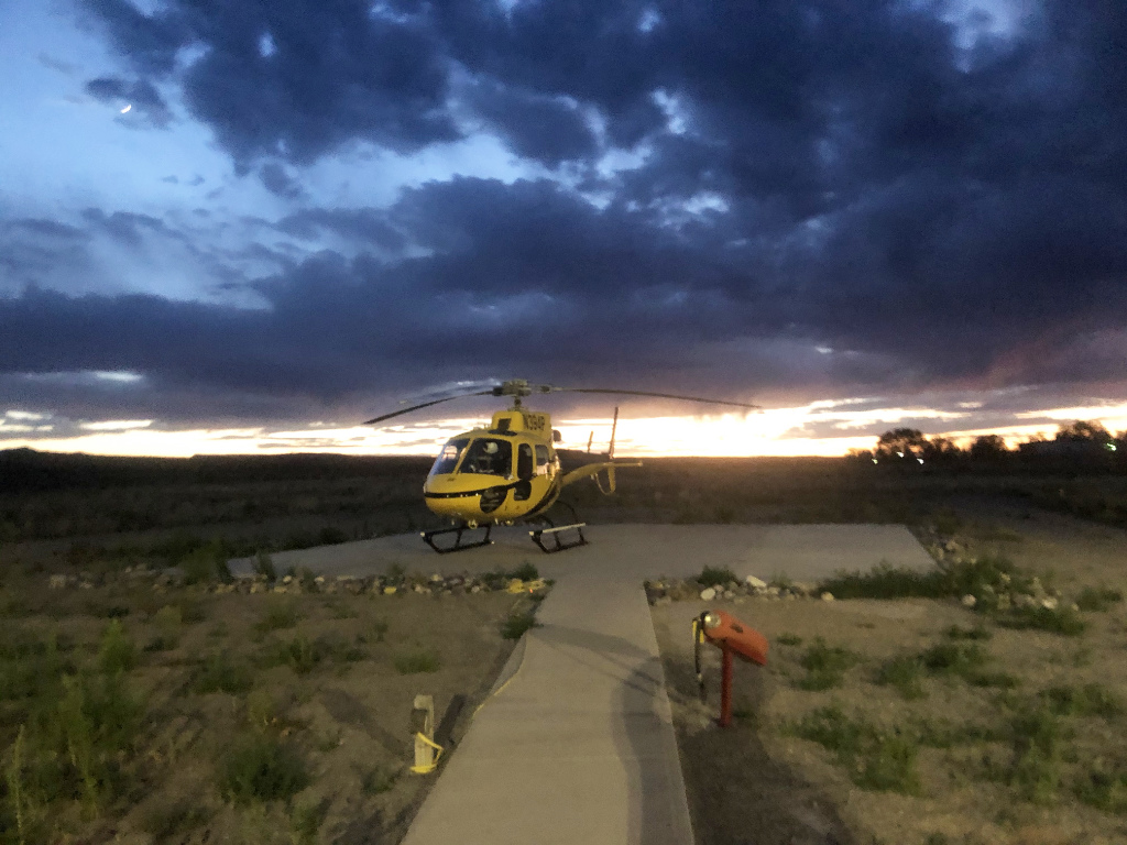 A medical helicopter stands ready to fly at a moment's notice in New Mexico.
