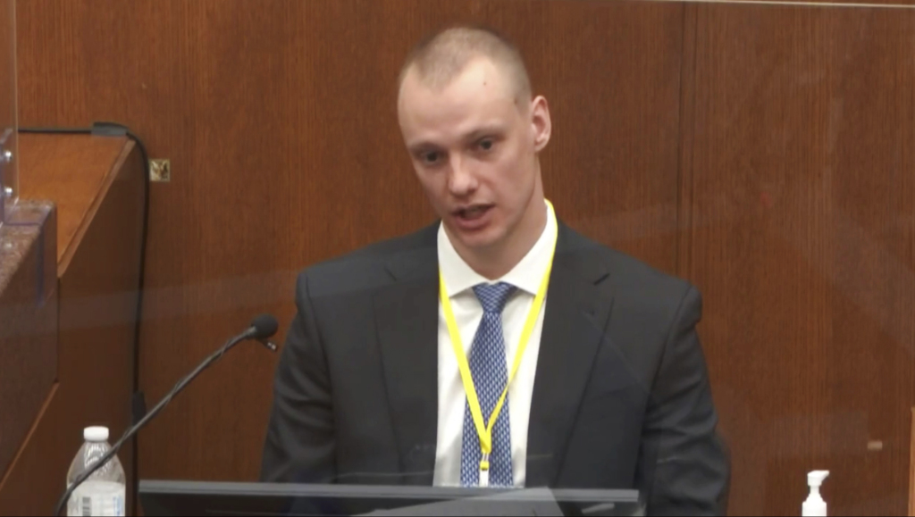 In this image from video, witness Seth Bravinder answers questions as Hennepin County Judge Peter Cahill presides.