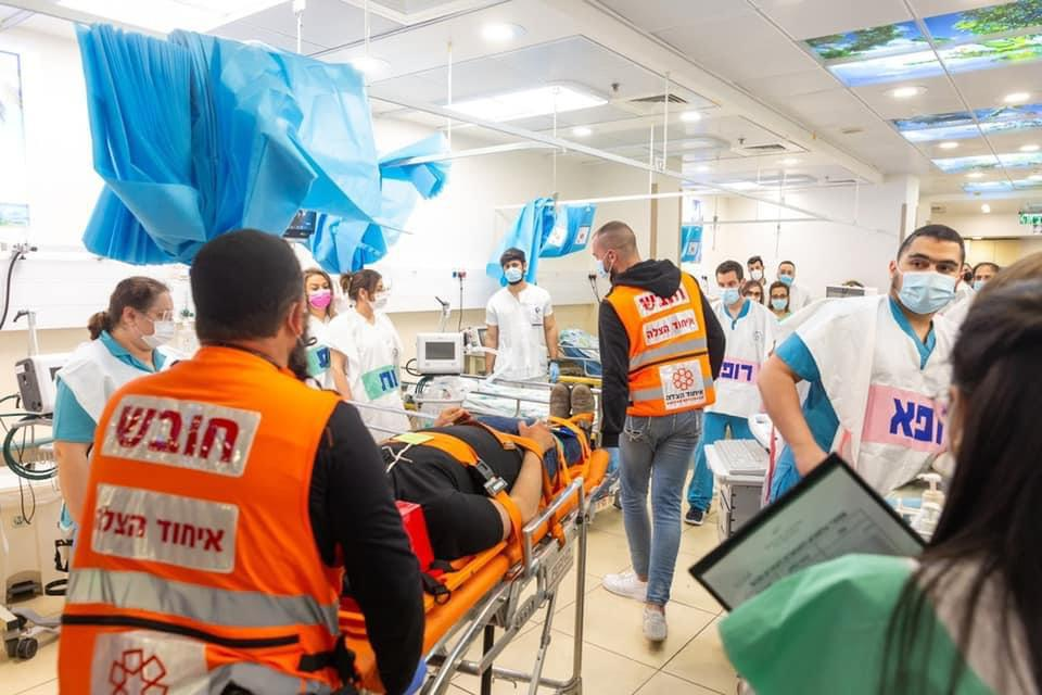 United Hatzalah teams and medical staff from the Galilee Medical Center working together during the drill