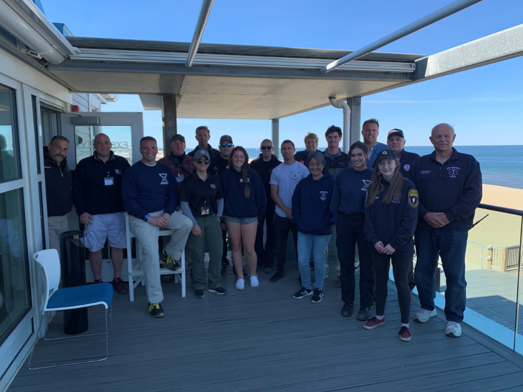 A group shot from the first annual May-Day Surf Lifesaving Resuscitation Symposium in Sea Bright, New Jersey.