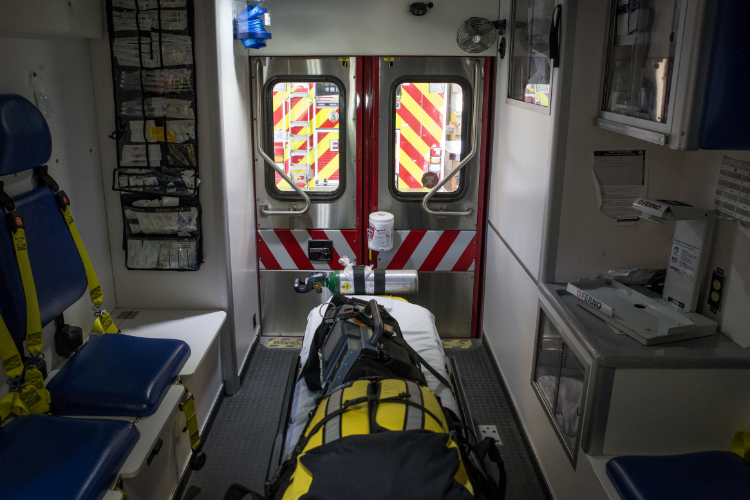 The photo shows the inside of an ambulance.
