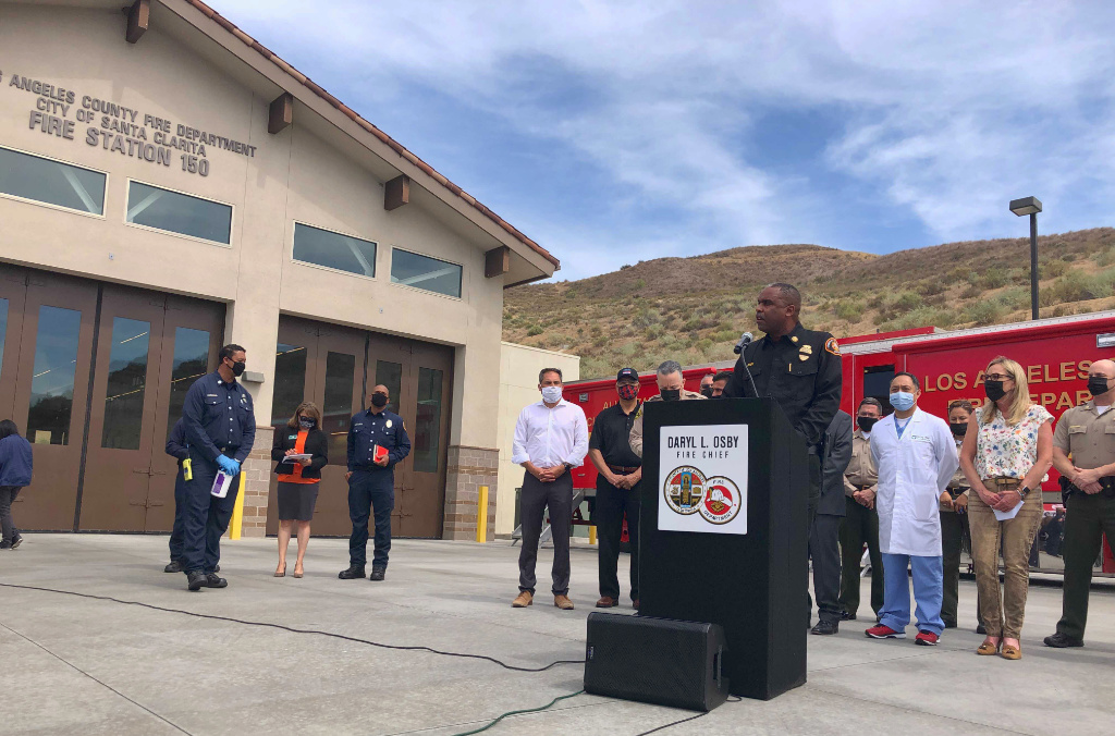 Los Angeles County Fire Chief Daryl Osby talks during a news conference about a shooting at a local fire station in Santa Clarita, Calif., on Tuesday, June 1, 2021.