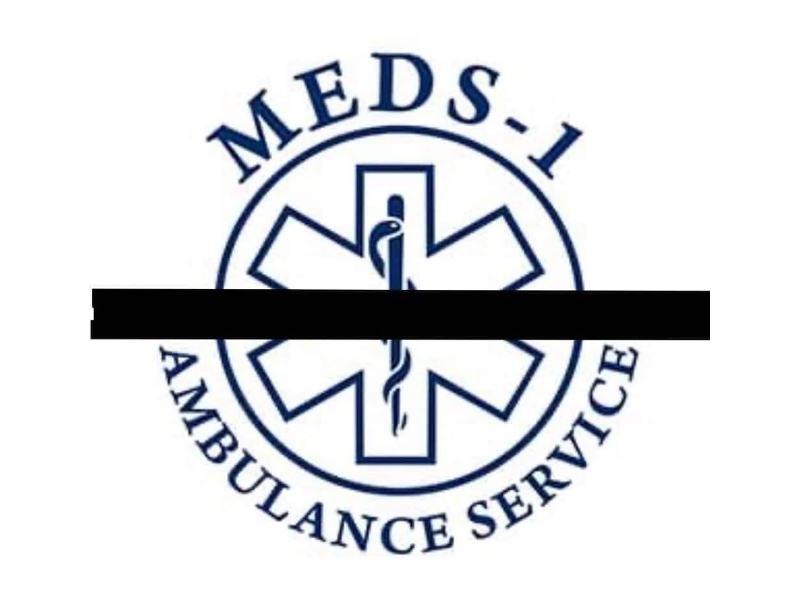 MED-1 logo with a black mourning bar running through the center.