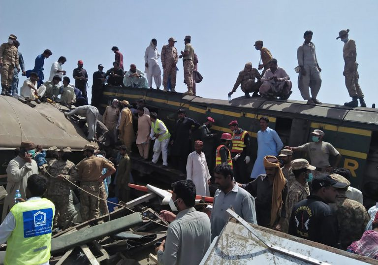 At Least 40 Dead after Train Barrels into Another in Pakistan