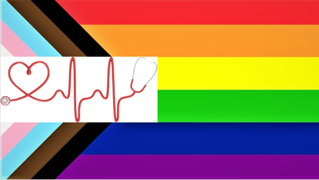 The image shows a stethescope making a heart over a pride flag.